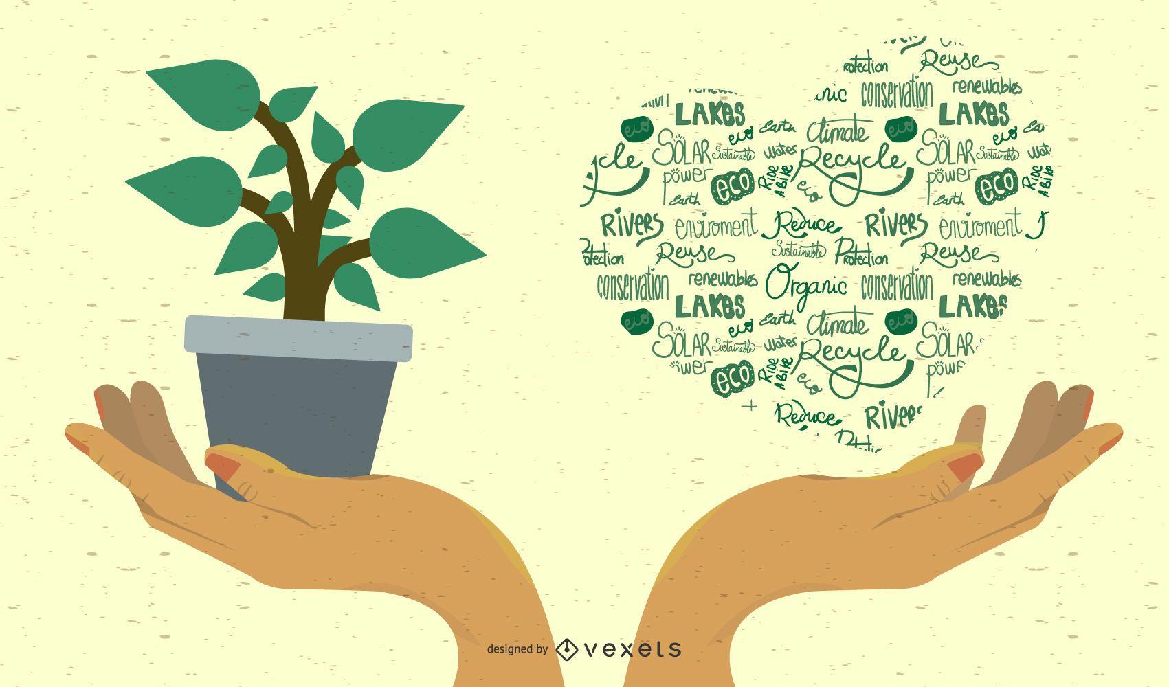 Manos del concepto de ecología de jardinería