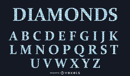 Tipo de letra alfabética estilo diamante