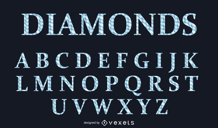 Estilo de letra alfabético estilo diamante