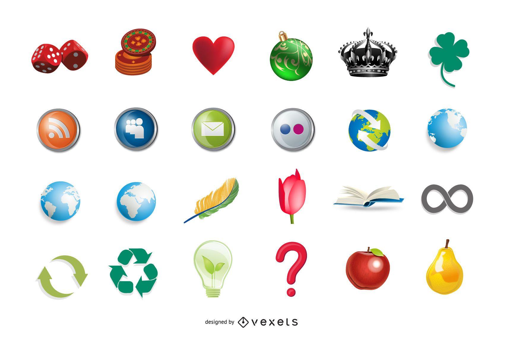 24 iconos vectoriales 3D hermosos y gratuitos