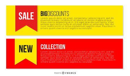 Modelos de banners promocionais multicoloridos