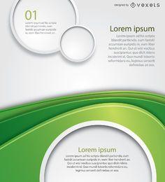 Cartel de círculos de ola verde