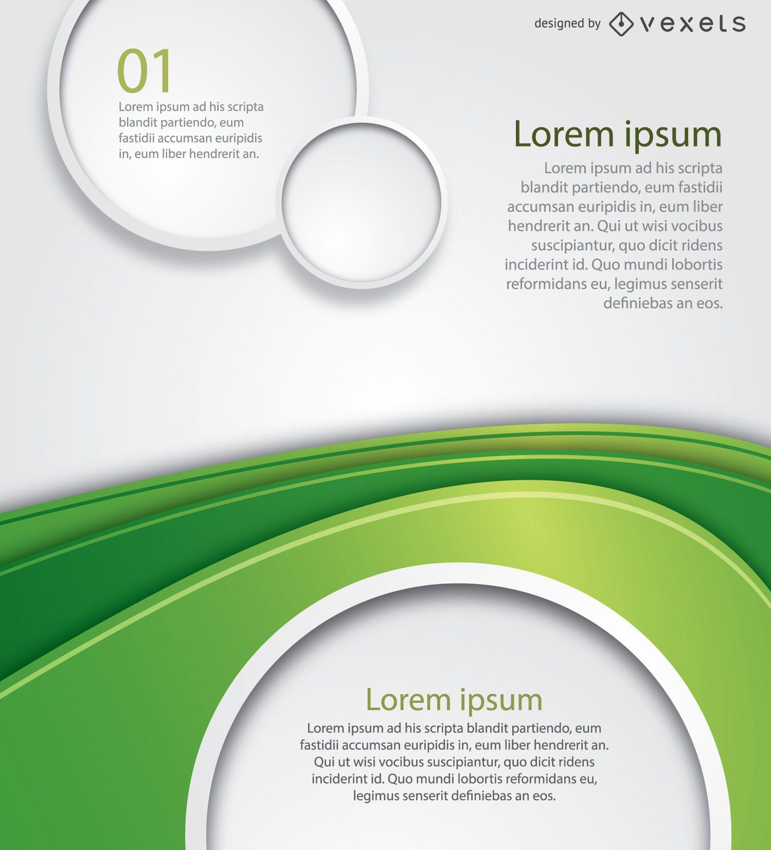 Póster círculos de onda verde