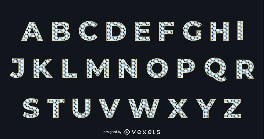 Diamante textura oro tipográfico alfabético
