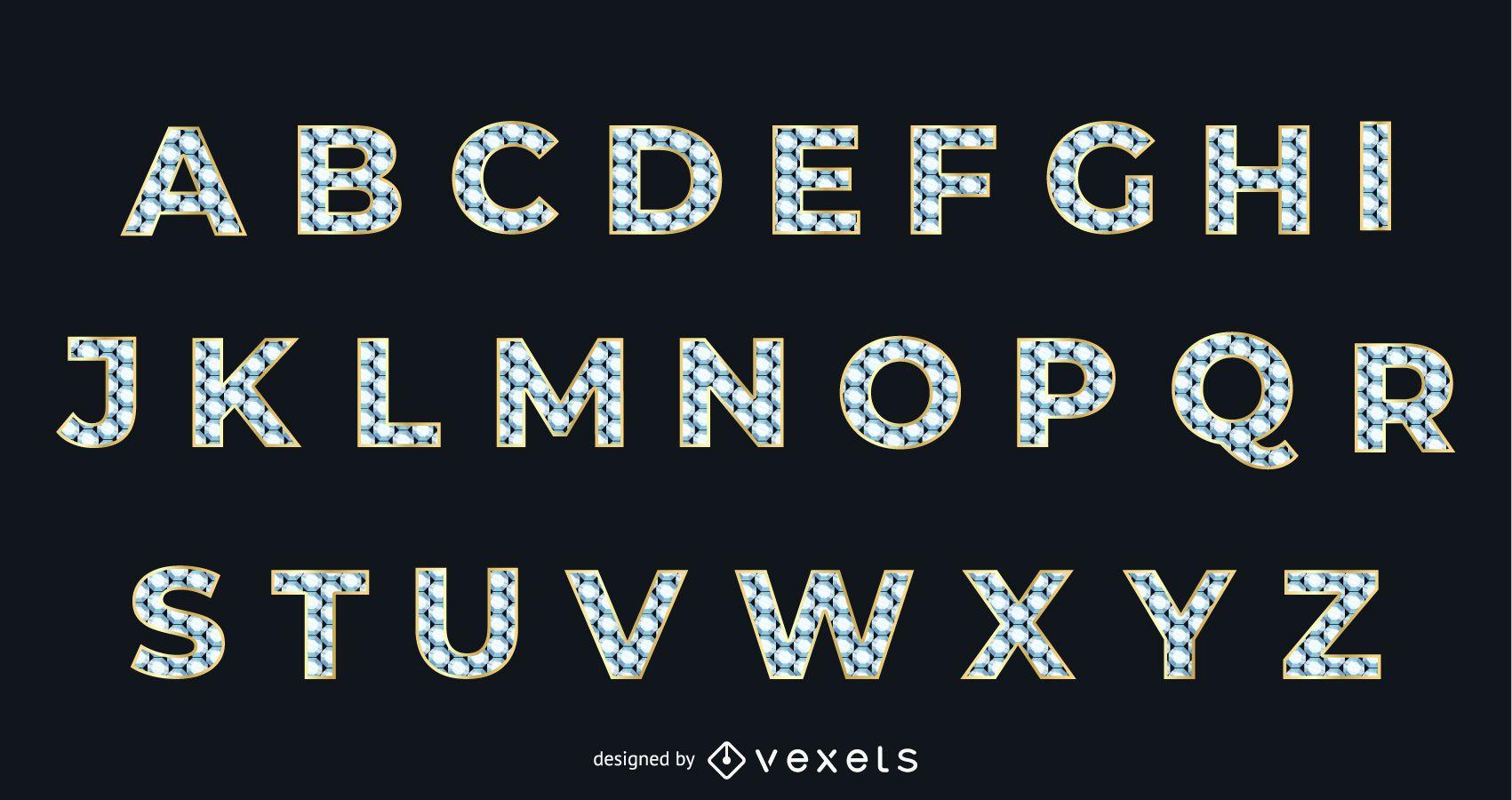 Tipograf?a alfab?tica dorada con textura de diamante