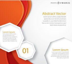 Octágonos de texto de curvas naranjas