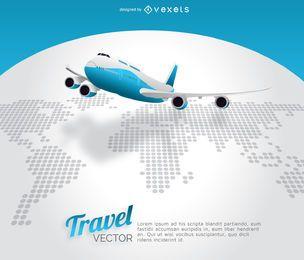 Avión mapa del mundo de viajes