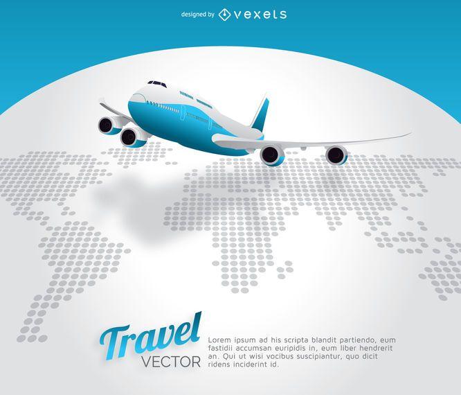 Mapa do mundo de viagens de avião