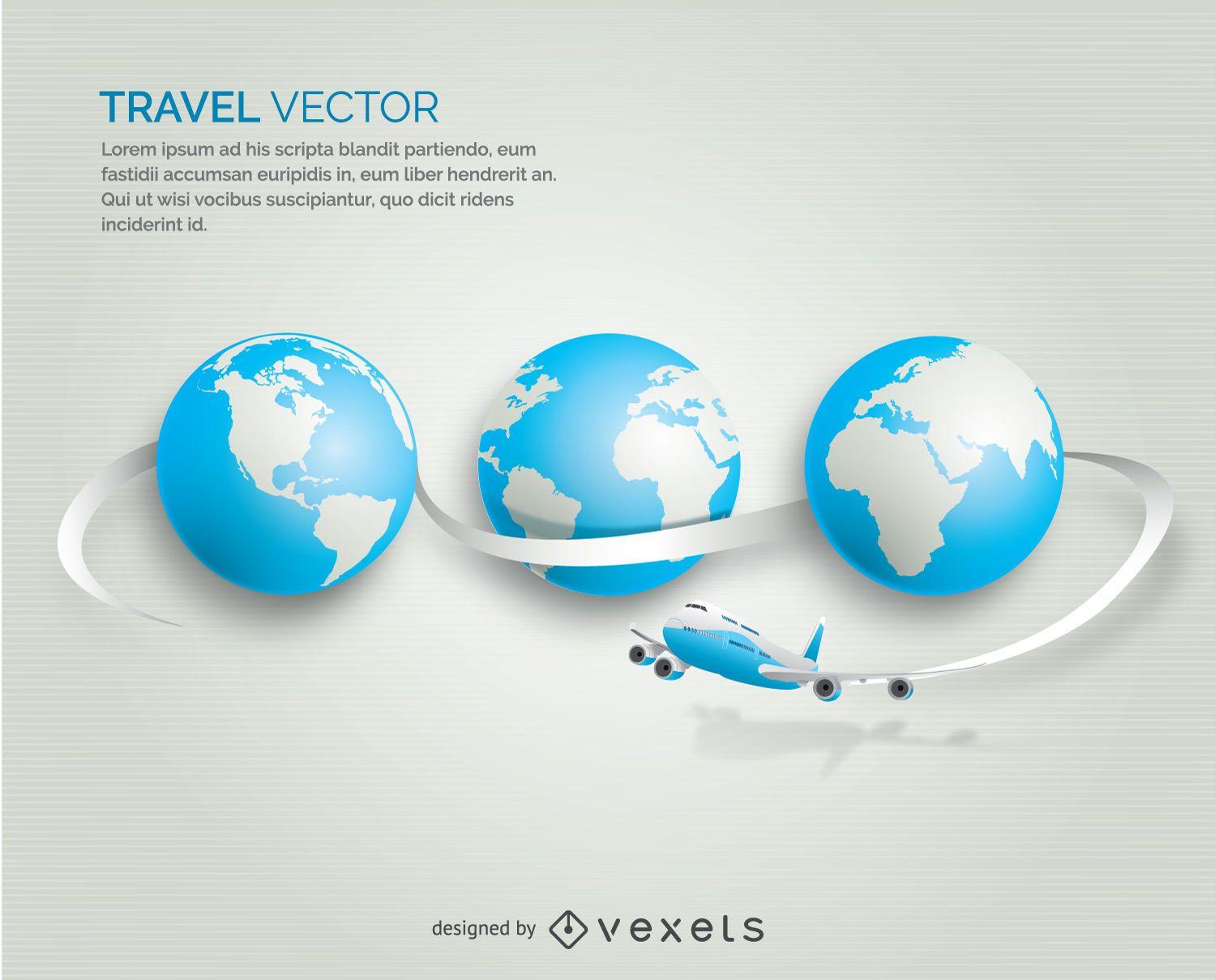Airplane traveling globe