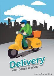 Cidade de motociclista de entrega