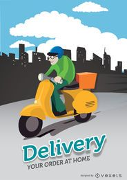 Delivery motorcyclist city