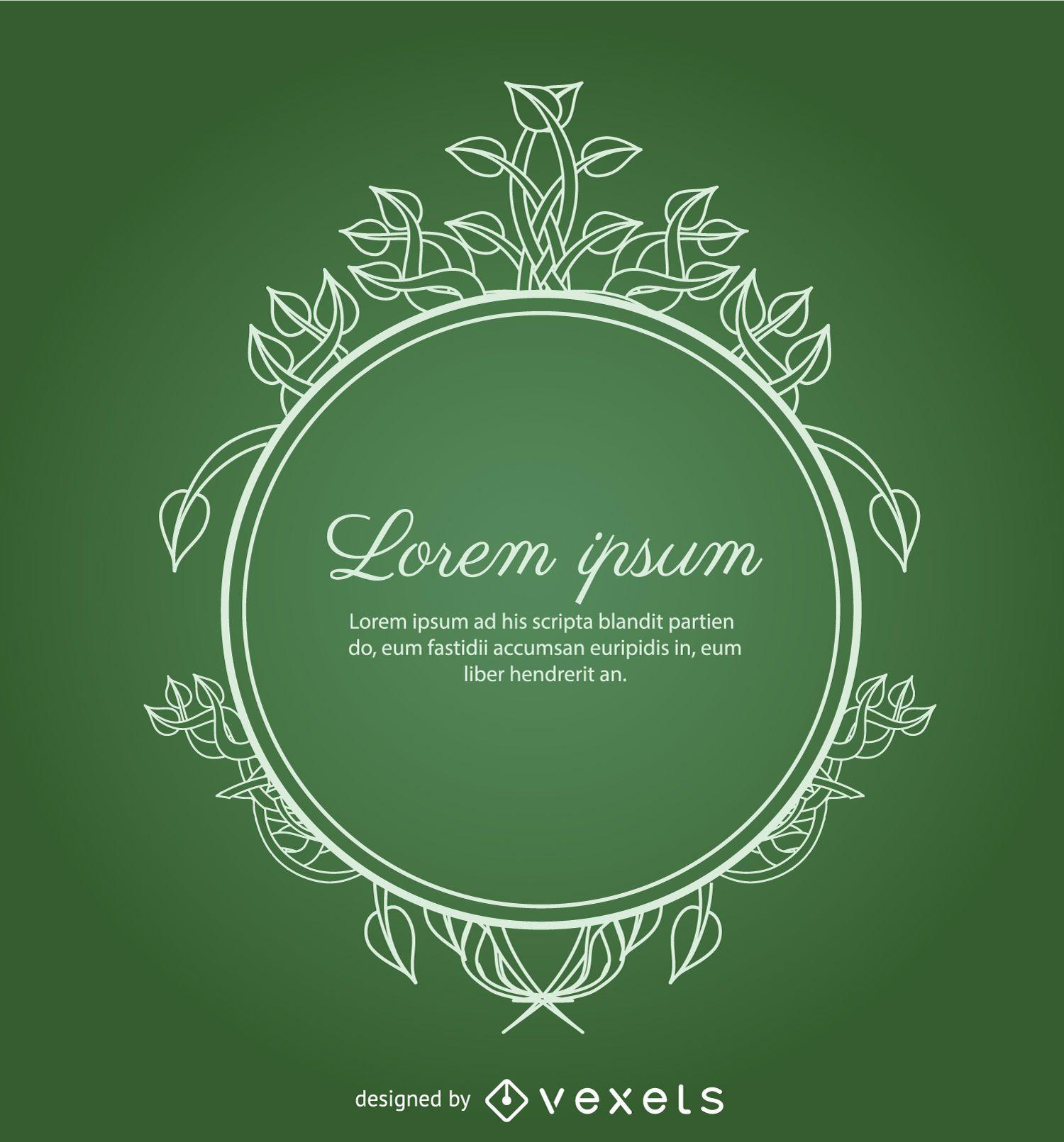 Ornamento do c?rculo com folhas verdes