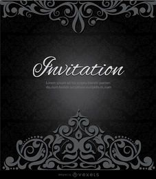Swirls crown black invitation