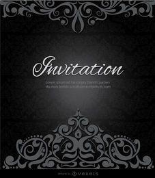 Wirbelt Krone schwarze Einladung