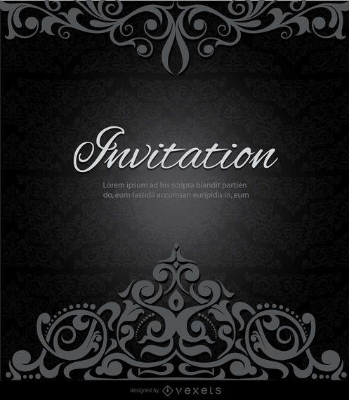 Invitación corona negro remolinos