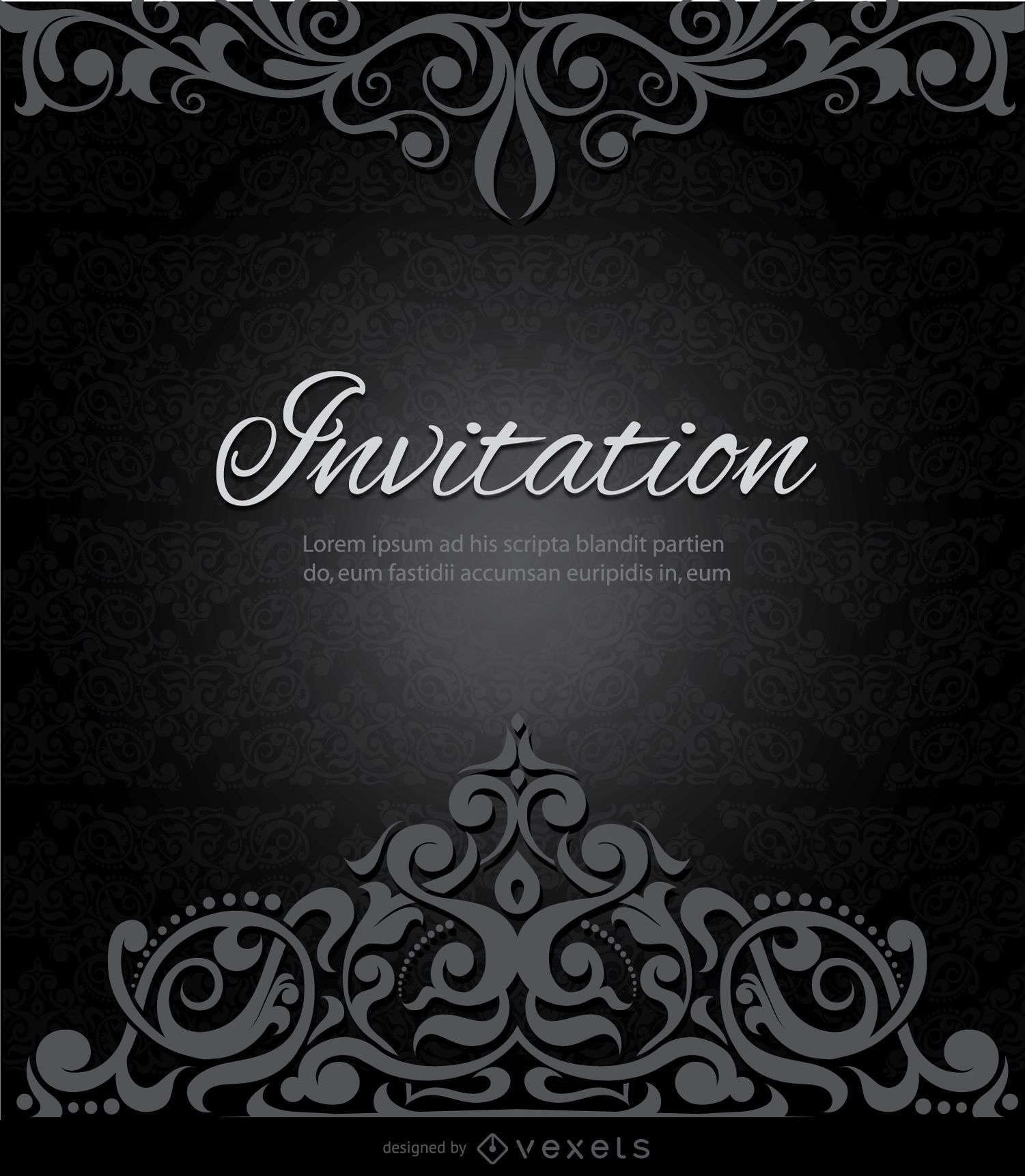 Swirls black invitation