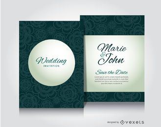 Green flowers wedding invitation
