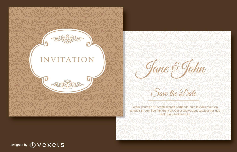 Brown swirls wedding invitation