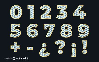 Diamond Textured Numerical Golden Font