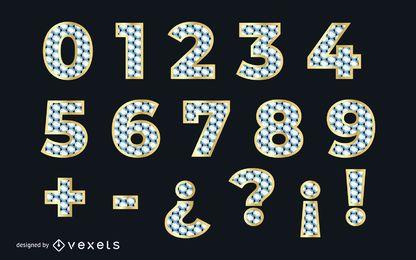 Fuente de oro numérica con textura de diamante
