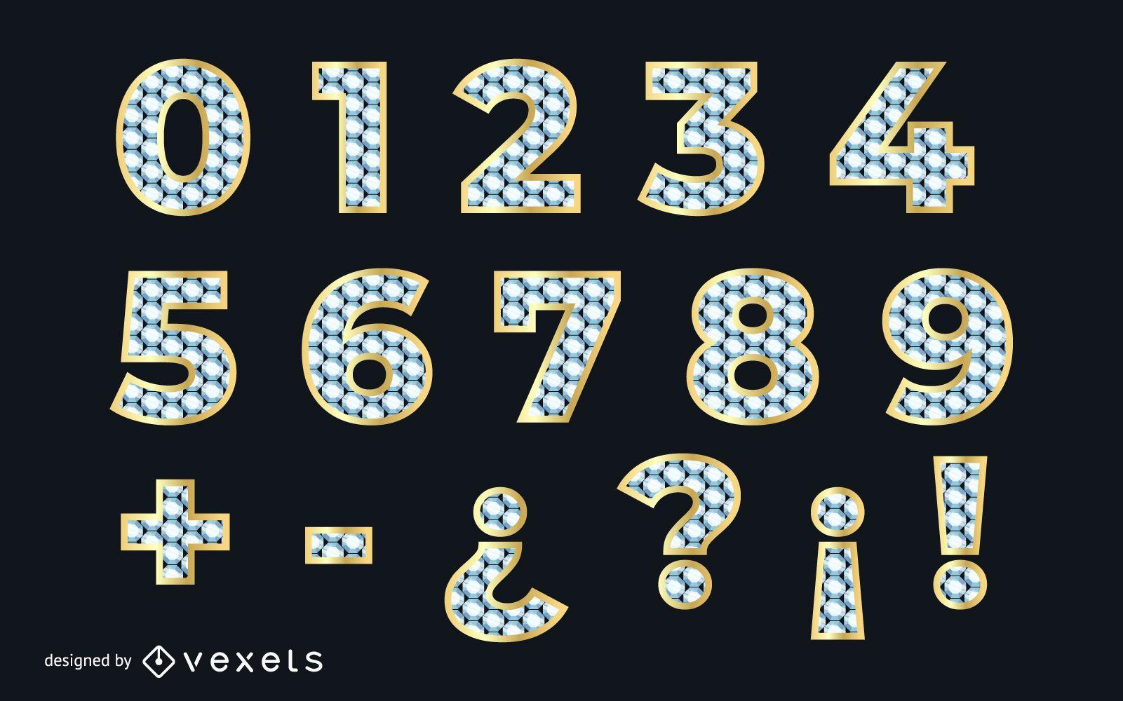 Diamant strukturierte numerische goldene Schrift