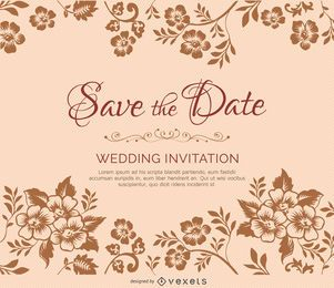 Flower branches marriage invitation