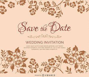 Ramas de flores de invitación matrimonio