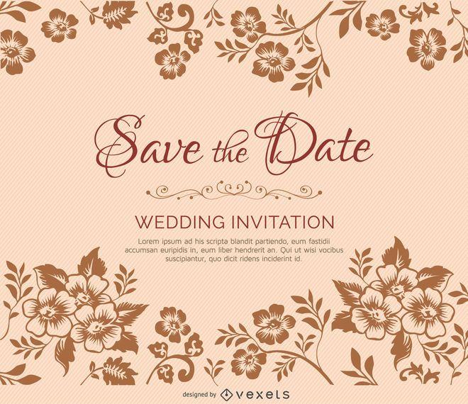 Convite de casamento de ramos de flores
