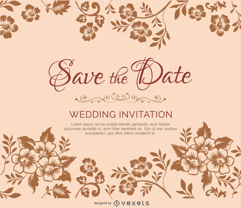Golden Save The Date For Wedding Invitation Wedding: Ramas De Flores De Invitación Matrimonio