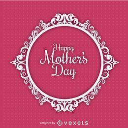 Cartão de enfeite de círculo do Dia das Mães