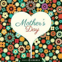 Tarjeta de flores para el día de la madre.