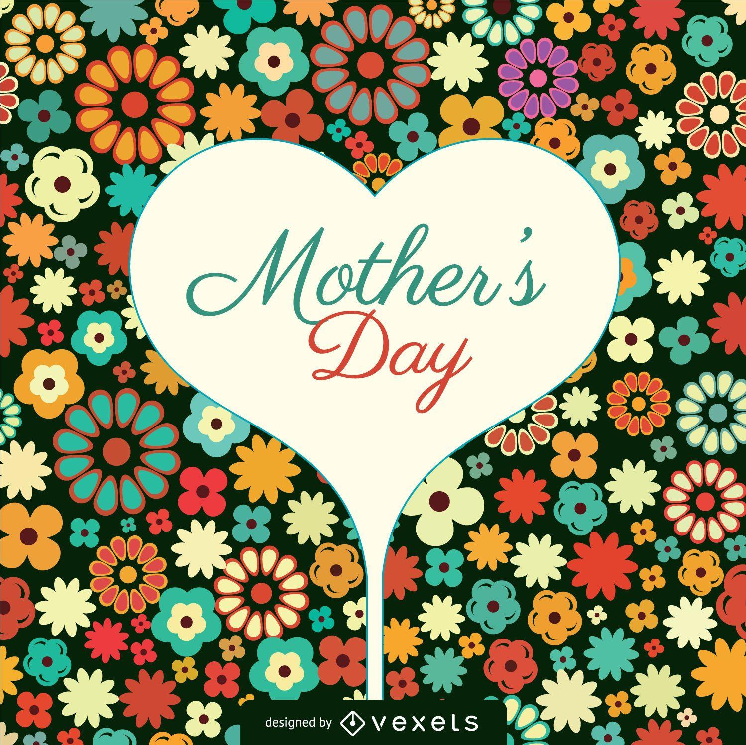 Tarjeta de flores para el día de la madre
