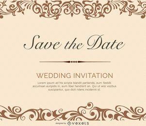 Invitación de boda color crema remolinos