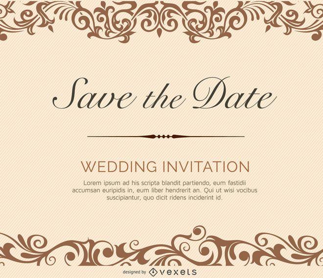 Invitación de boda crema de remolinos
