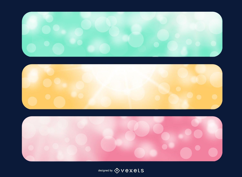Banners multicolores de luz solar brillante
