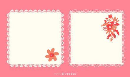 Conjunto de Doily quadrado decorativo delineado