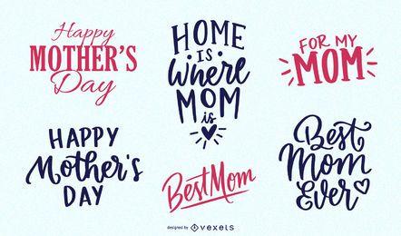 Pacote de mensagem vintage de dia das mães