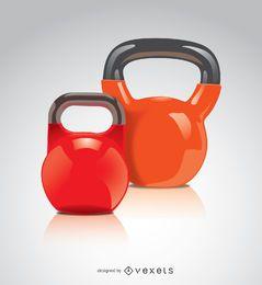 2 Kettlebells rojo naranja