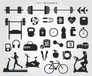 29 Gym icons silhouettes