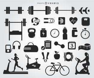 29 Silhouetten von Fitnessstudios
