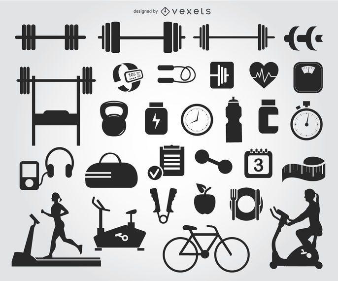 29 siluetas de iconos de gimnasio
