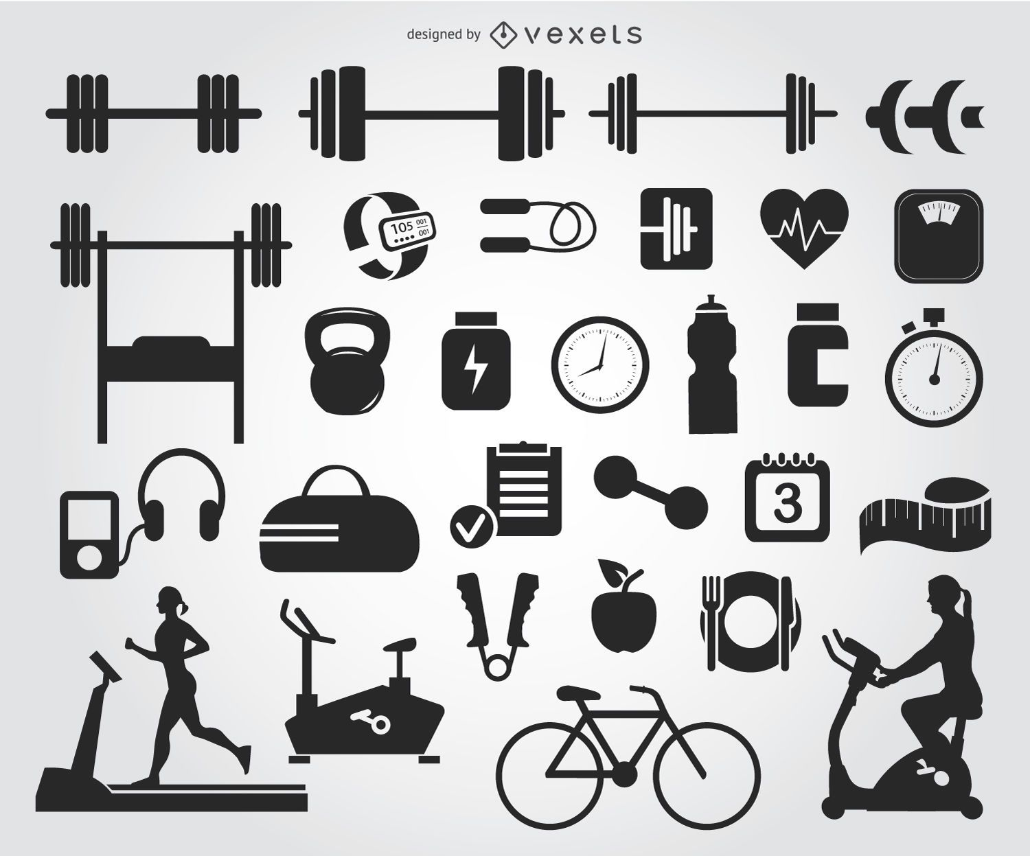 29 Gym icons silhouettes - Vector download