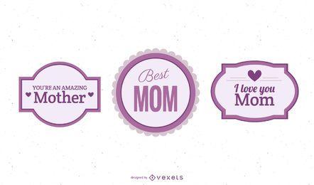 Paquete de etiquetas coloridas del día de la madre