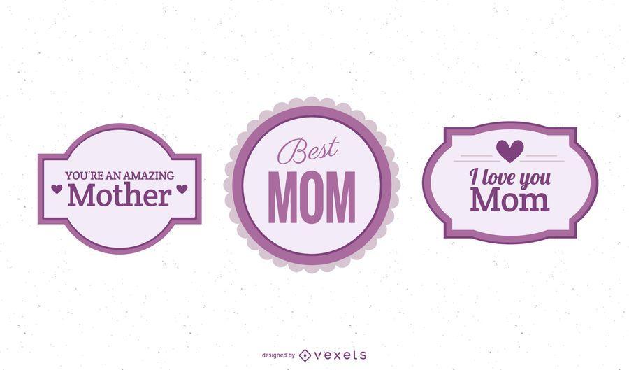 Pacote de etiquetas coloridas do dia das mães