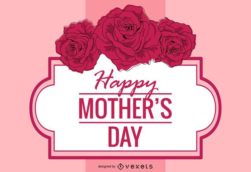 Tarjeta floral decorativa del día de la madre