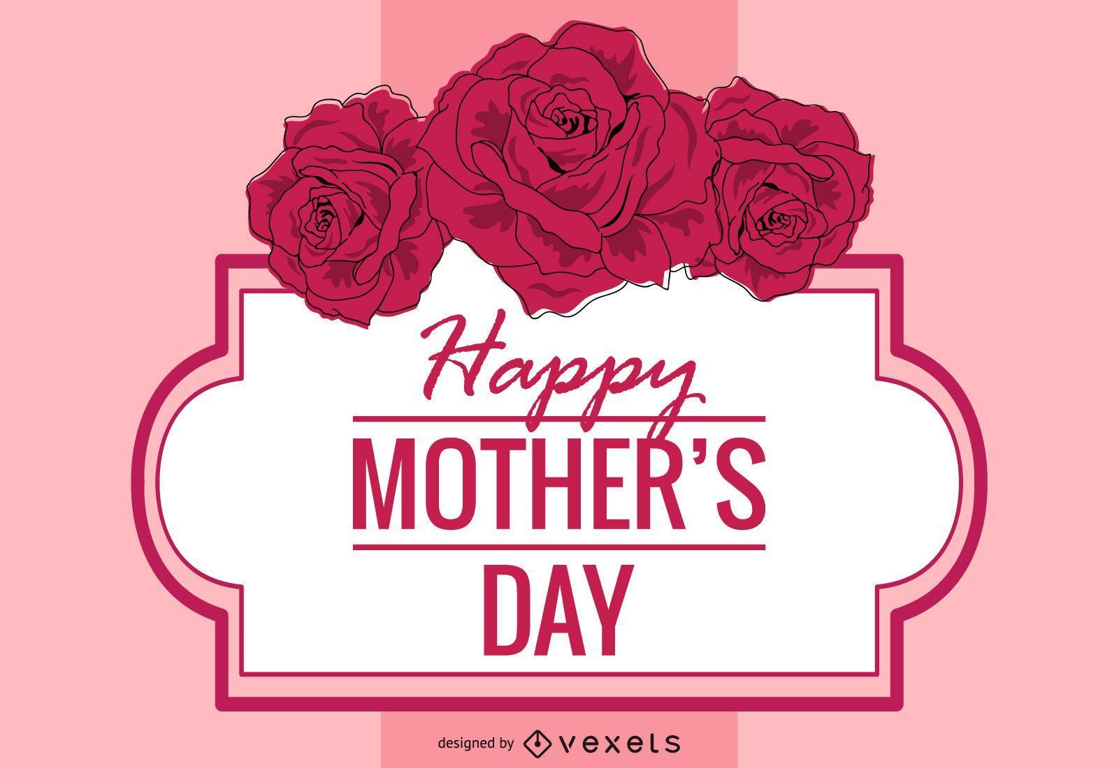 Cartão floral decorativo para o dia das mães