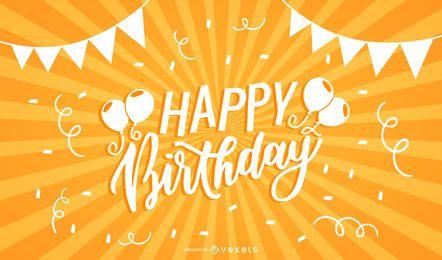 Feliz cumpleaños tipografía Sunbeam fondo