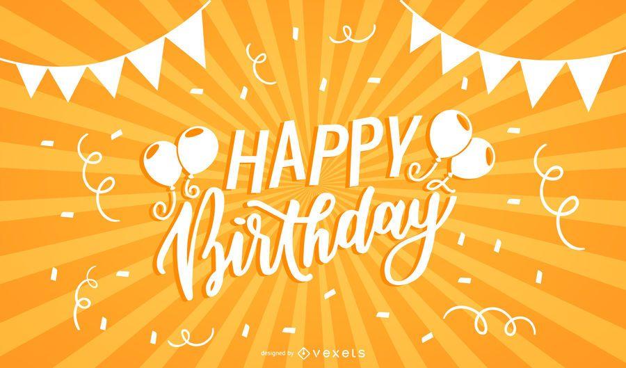 Feliz aniversário tipografia fundo de raio de sol