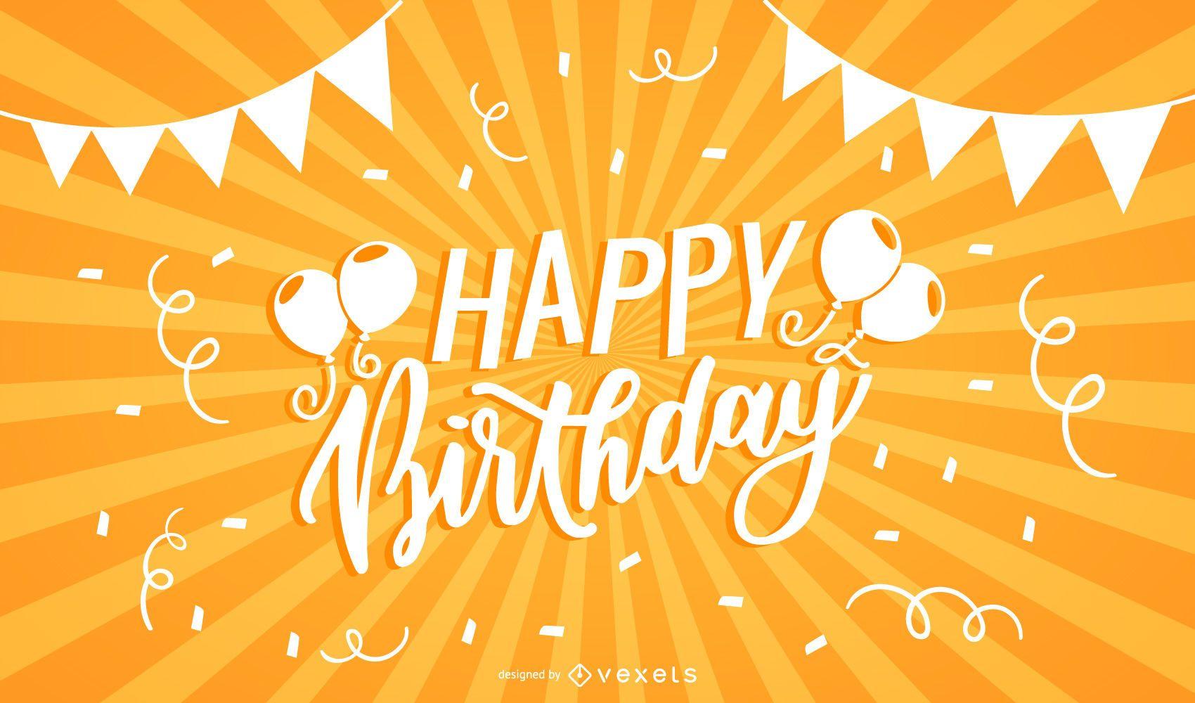 Happy Birthday Typography Sunbeam Background