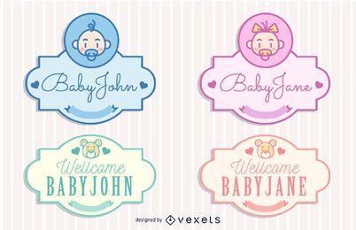 Paquete de etiquetas Vintage Baby Concept